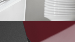 REHAU's RAUVISIO high-gloss laminate and glass-design available in cut-to-size components.