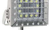 The EPL-PT-150LED-RT pole top slip fit mount explosion proof LED light from Larson Electronics features an adjustable swivel bracket constructed of 3/8-inch aluminum that allows 270 degrees of adjustment and is attached to a slip fit yoke for easy installation.
