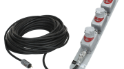 Larson Electronics released a heavy-duty extension cord equipped with three twist lock receptacles designed to provide secure connection of explosion-proof equipment in hazardous locations.