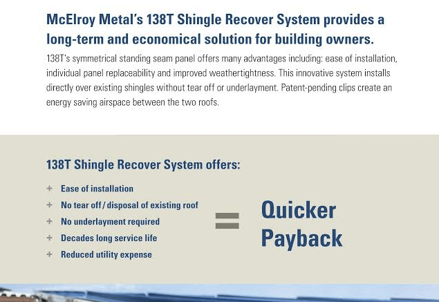 McElroy Metal announces the download availability of its new brochure, 138T Shingle Recover System.
