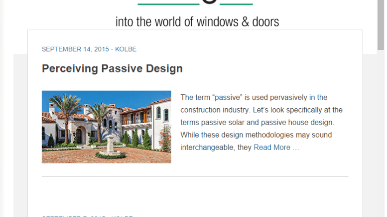 """Offering insight into the world of window and doors, Kolbe has launched """"SightLines."""""""