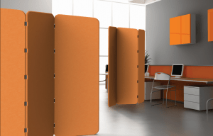 Zintra on Zintra panels are connected with flexible straps to form a portable partition.