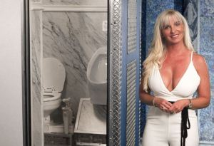 Kimberly Howard is pictured with the Waterloo Portable Toilet by CALLAHEAD.