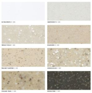 The solid surface commercial collection is available in eight colors, are stain resistant and nonporous.
