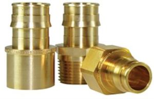 Uponor offers ProPex brass transition fittings.