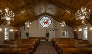 The Legacy Chapel blends historical artwork with modern LED technology from Nora Lighting to create illuminated rose windows.