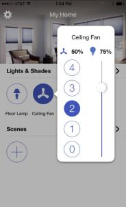 Using the Lutron App, building owners can adjust their Hunter Symphony and Signal ceiling fans to a preferred setting.