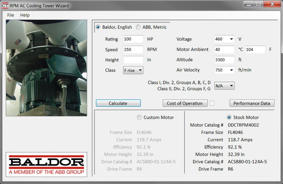 Updated Cooling Tower Motor Selection Software Offers Stock Packages