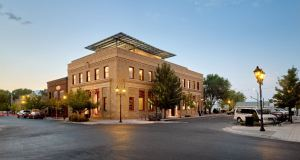 Built in 1918, Farmers Bank is a 2-story, Neoclassical-style building designed by Nevada architect Frederick J. Delongchamps.