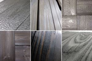 The Kebony Shou Sugi Ban by Delta Millworks utilizesthe Japanese techniques of burning, brushing or pre-weathering timber to provide a wood cladding product.