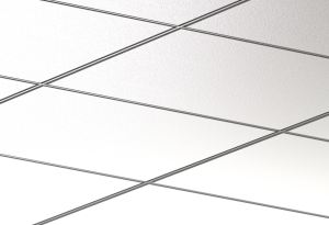 The Rockfon Chicago Metallic Integrity 4200 double reveal ceiling system with acoustic stone wool panels provides fire safety and humidity resistance.