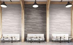 Ege Seramik glazed porcelain tiles mimic natural travertine.