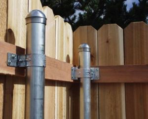 Bracket Attaches Wood Fence Rails to Metal Fence Posts - retrofit