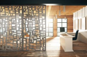 The Laser Cut collection boasts 12 standard patterns with the ability to customize the size and shape of the cutouts to control the amount of light and flow through space.
