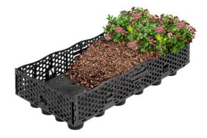 The 12- by 24-inch roof tray, which is composed of 100 percent recycled content, can hold up to 4 inches of media for plant growth.