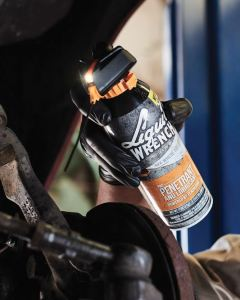LIQUID WRENCH Pro Penetrant and Lubricant features a built-in LED light, enabling users to see where they spray and improving accuracy in low-light areas.