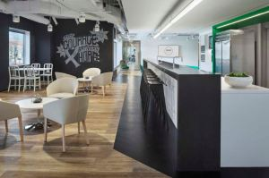 Luxury vinyl flooring from Parterre is an anchor design element for both MakeOffices locations.
