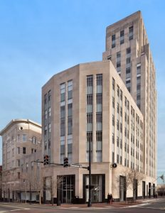 The Hill Building is a Durham landmark because of its 17-story stepped architecture and the fact that it was designed by Shreve, Lamb & Harmon, architects of New York's Empire State Building.