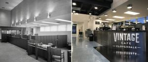 The two story former Regions and First National Bank building is renovated into Vintage Café.