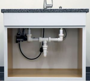 Insta-Plumb, an under-sink drainage installation and repair system, creates a connection without the use of glues, primers, solvents, nuts, or washers.