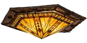 The Sonoma Birch Flushmount, from Meyda Tiffany Lighting, features Southwestern styling and a Native American design.