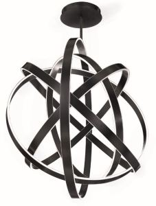 The gyroscope inspired chandelier features adjustable rings, enabling the user to create a personalized look.