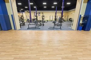 The athletic surfacing installed at the fitness center accomodates the different training areas.