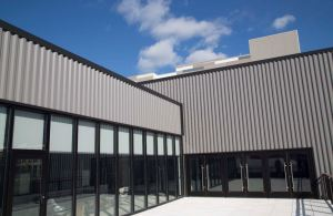 The insulated metal panel system provides provides thermal efficiency and moisture control.