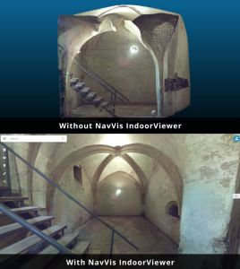 NavVis IndoorViewer is a web-based application that displays digital twins using 360 degree images, point clouds and maps generated by 3D scanning devices.