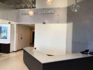 Newport Utilities redesigns its lobby to highlight fiber optic cable broadband services.