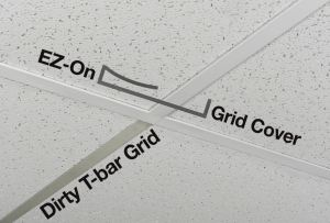 EZ-On Grid Covers slide over the T-bar and snap into place.