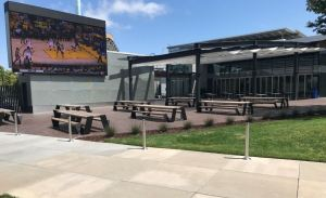 The outdoor media wall is the focal point for meetings and presentations as well as entertainment.