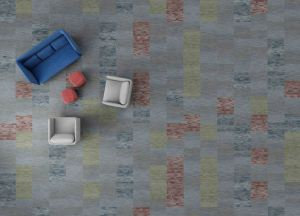 The Tangible Hue carpet tile collection creates bright spaces.