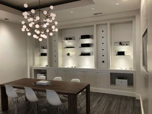 The lighting lab features a built-in cabinet space with recessed lighting options from counter height to ceiling so customers can see the various lighting capabilities.