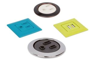 Power Grommets by Mockett are a design solution for adding accessible power into furniture.