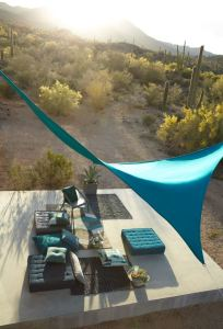 Sunbrella Contour is a knit-textured fabric that can make shade stretch.