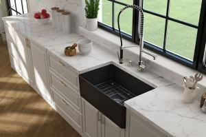 The Forte apron-front sink offers oversized functionality in a slim design that saves counterspace.