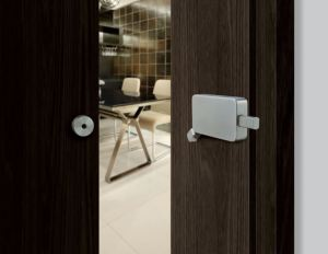 The Surface Mount Barn Door Lock is a patented stainless steel lock designed to reduce installation time while still providing safety and security.