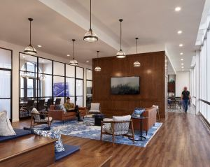 A highlight of the office renovations is the Exchange, communal space within the office floors where smaller-office tenants can meet, dine and share ideas.