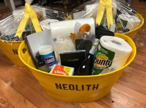 Neolith Atlanta presents clients with care baskets to boost morale during the COVID-19 pandemic.