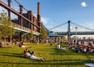 Domino Park is part of the transformation of the former Domino Sugar Factory site into a mixed-use space.