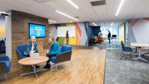 SLAM's design of the Innovation Center portrays innovation through breaking down boundaries and devising an open and flexible floor plan.
