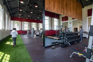 SLAM transforms a 3,000-square foot theater building into a fitness space for The Gunnery's students and staff to use year-round.