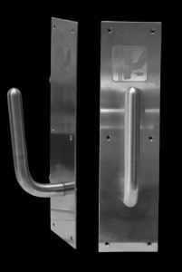 SanitGrasp is a no-touch door pull handle that allows a person to use their wrist or the bottom of their arm to open a public door.