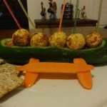 Cucumber Catamaran with Carrot Paprika Balls