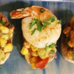 Old Bay Barbecued Corn and Prawn Tostadas