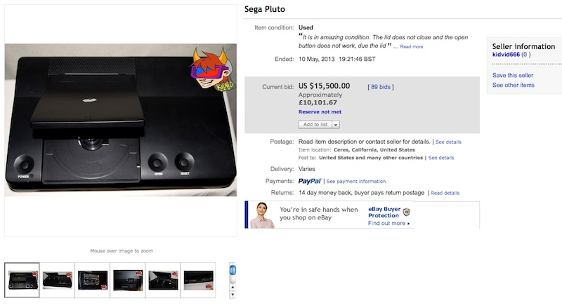 Sega Pluto Fails To Sell At Ebay Auction With Bidding Up To 15 500 Retro Games Collector
