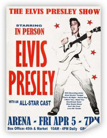 vintage elvis presley philly 57 concert poster