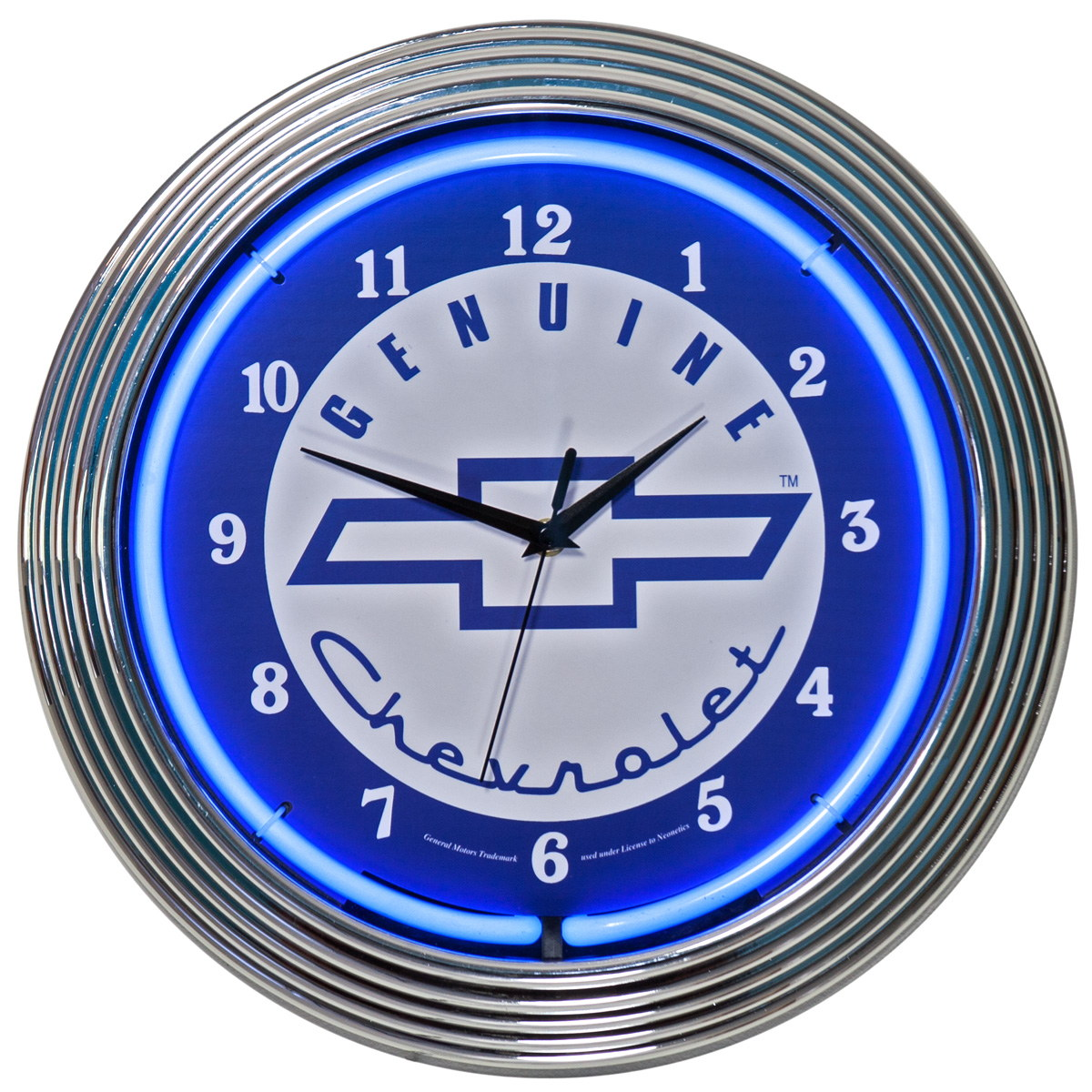 Genuine Chevrolet Bowtie Logo Neon Garage Clock At Retro Planet