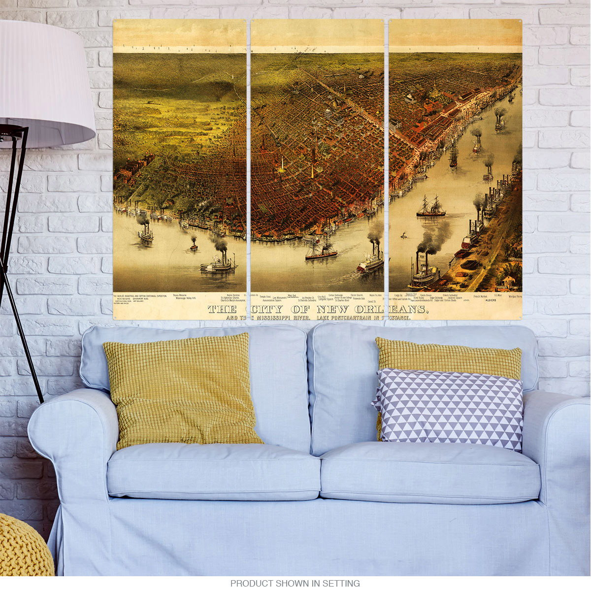 New Orleans Vintage Style City Map Triptych Metal Wall Art Large ...